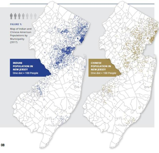 新州印度裔(左)、华裔(右)居民分布情况。 (取自Jersey Promise)
