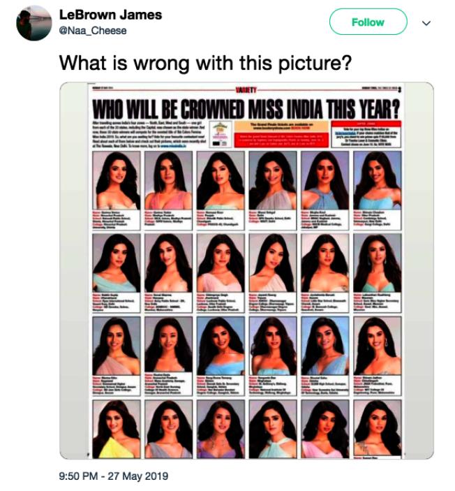 网友对于2019印度小姐候选人评论,「这张照片怎么了?」。 (取材自推特)