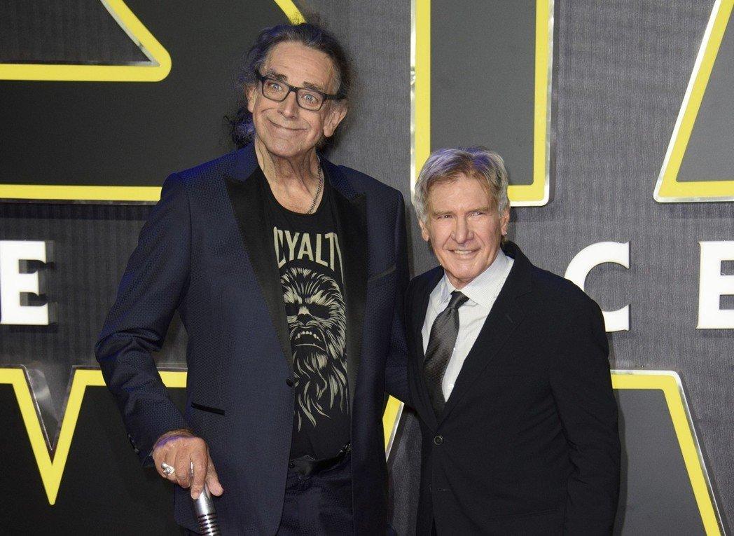 哈里逊福特与彼得梅休4年前还一起出席「Star Wars:原力觉醒」首映会。图/美联社资料照片