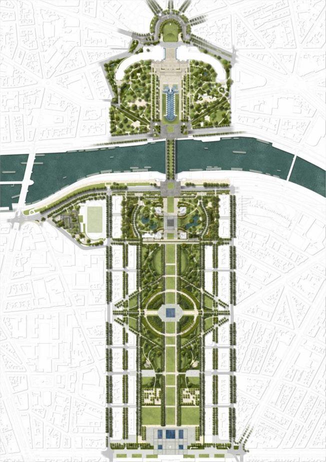 居斯塔夫森的提案以艾菲尔铁塔为轴心,从西至东的长方地带,包含:特罗卡德罗广场、夏佑宫、耶拿桥、艾菲尔铁塔、战神广场,最后到巴黎军官学校(École Militaire)。总占地面积为54公顷。 (取材自Gustafson Porter + Bowman)