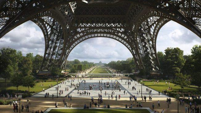 为了因应「2024巴黎奥运」以及环保政策,巴黎市政府宣布,将改造艾菲尔铁塔的心脏地带,禁行车辆并打造成「巴黎最大花园」。 (取材自Gustafson Porter + Bowman)
