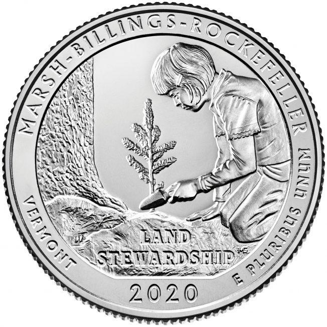 2020 America The Beautiful Quarters Coin Marsh Billings Rockefeller Vermont Uncirculated Reverse