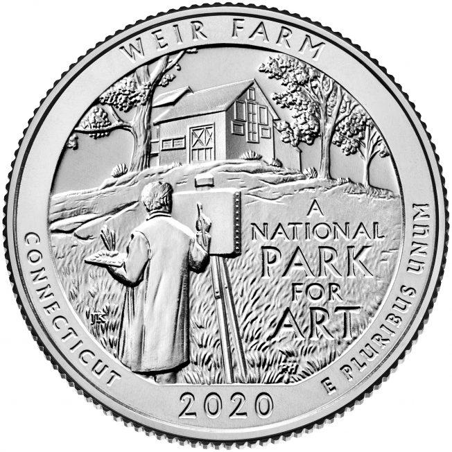 2020 America The Beautiful Quarters Coin Weir Farm Connecticut Uncirculated Reverse