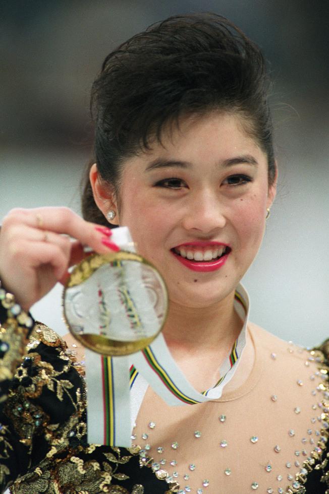 Kristi Yamaguchi獲得1992年冬季奧運女子花式滑冰金牌。(Getty Images)