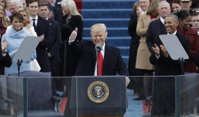 川普就任美國總統,意氣風發。(美聯社)