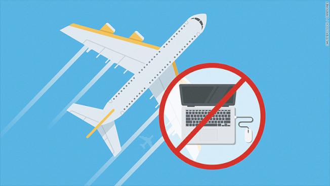 美國當局表示這條禁令將會實施在10個有直飛美國航班的中東國家及北非的機場。(圖取自CNN)