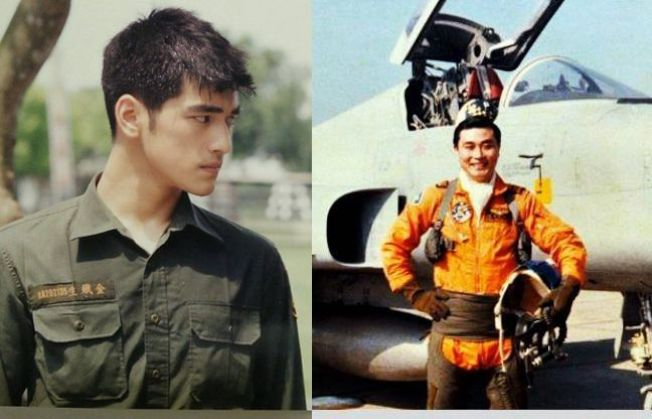 影星金城武與國防部長馮世寬年輕時的軍裝扮相。圖/蒙太奇影業(左)、國防部(右)