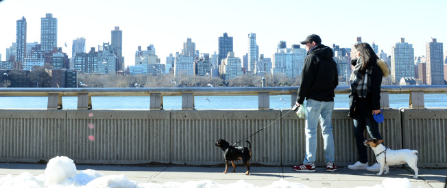 阿斯托利亞Vernon Blvd隔著東河與曼哈頓相望,岸邊為民眾休憩好去處。(記者許振輝/攝影)