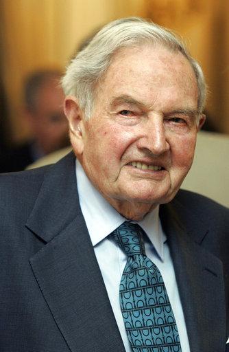 銀行家兼慈善家大衛•洛克斐勒101歲去世。美聯社檔案照