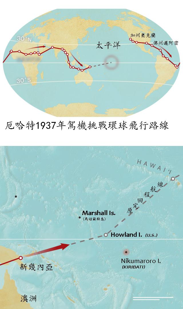 艾梅莉亞‧厄哈特1937年駕機挑戰環球飛行航線,回程途中在太平洋失蹤。
