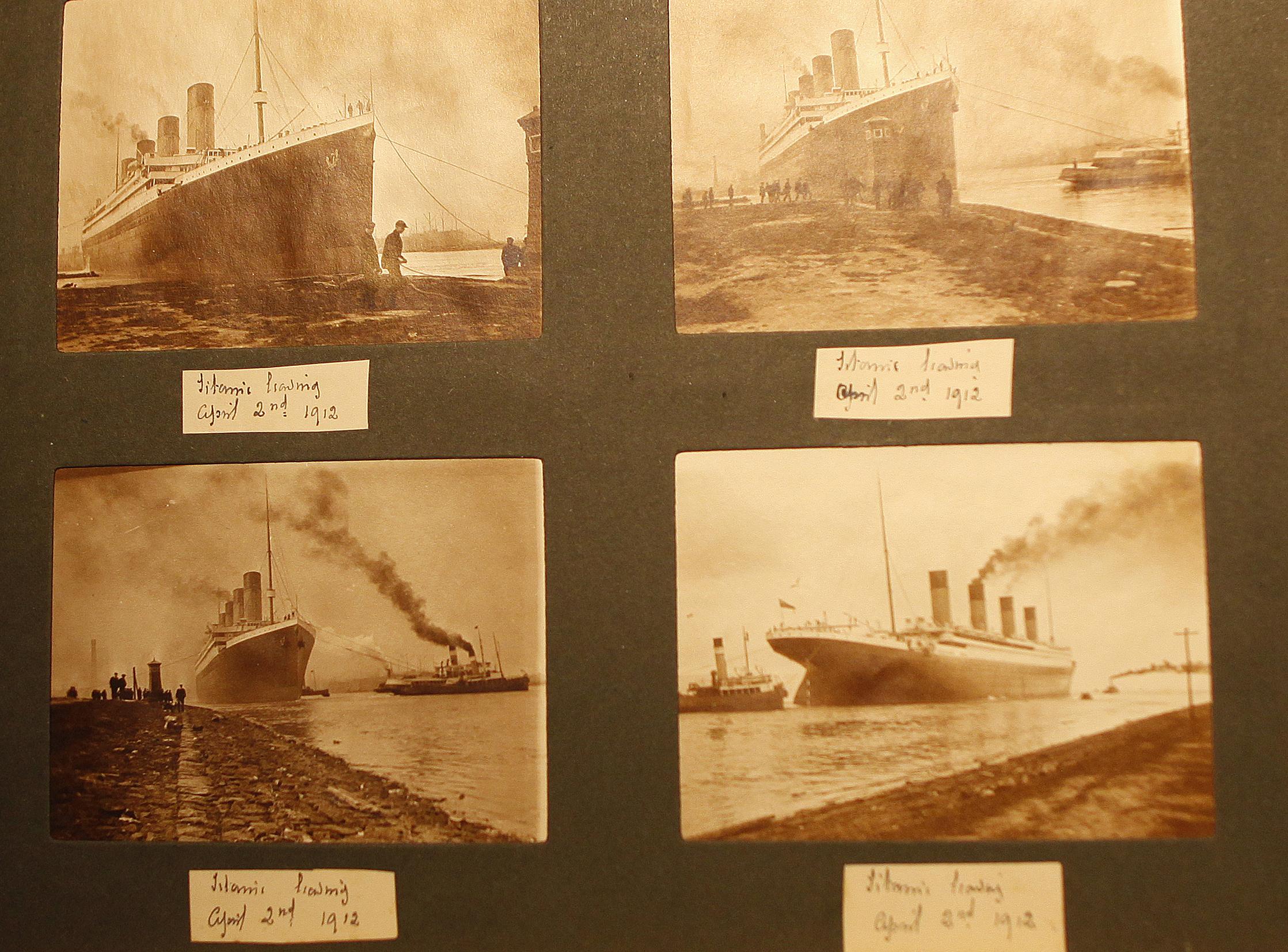 一本被塵封了一個多世紀的相簿,裡面收集著記錄這艘船的建造和第一次航行籌備期間的116張照片。(美聯社)