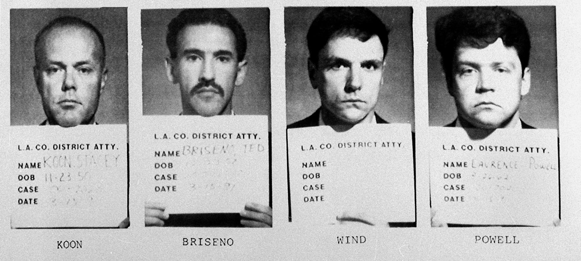 四名毆打羅尼‧金恩的警察原判無罪,隨即引發了洛杉磯大暴動。(美聯社)