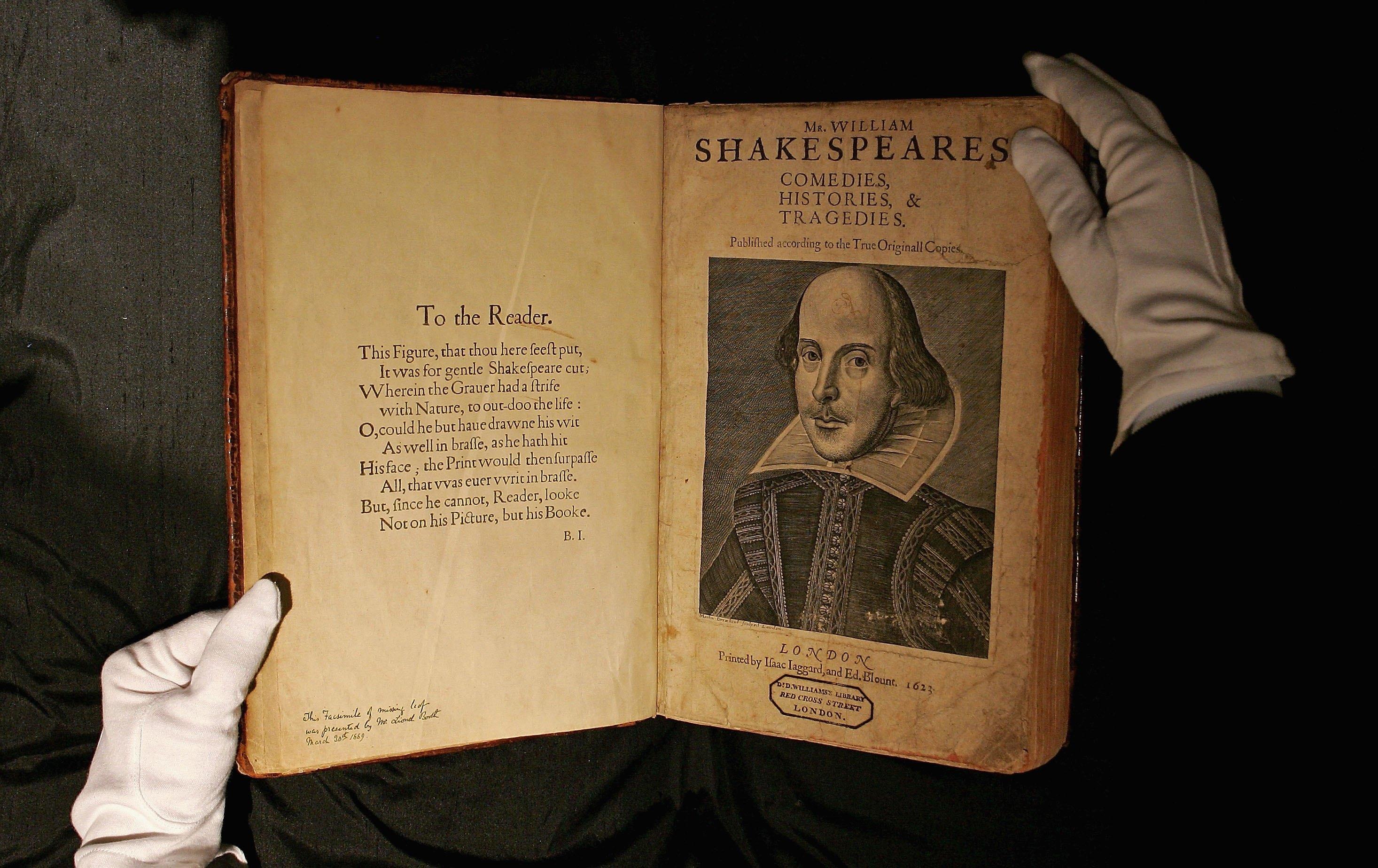 1623年,出版的「第一對開本」( The First Folio 1623)(Getty Images)