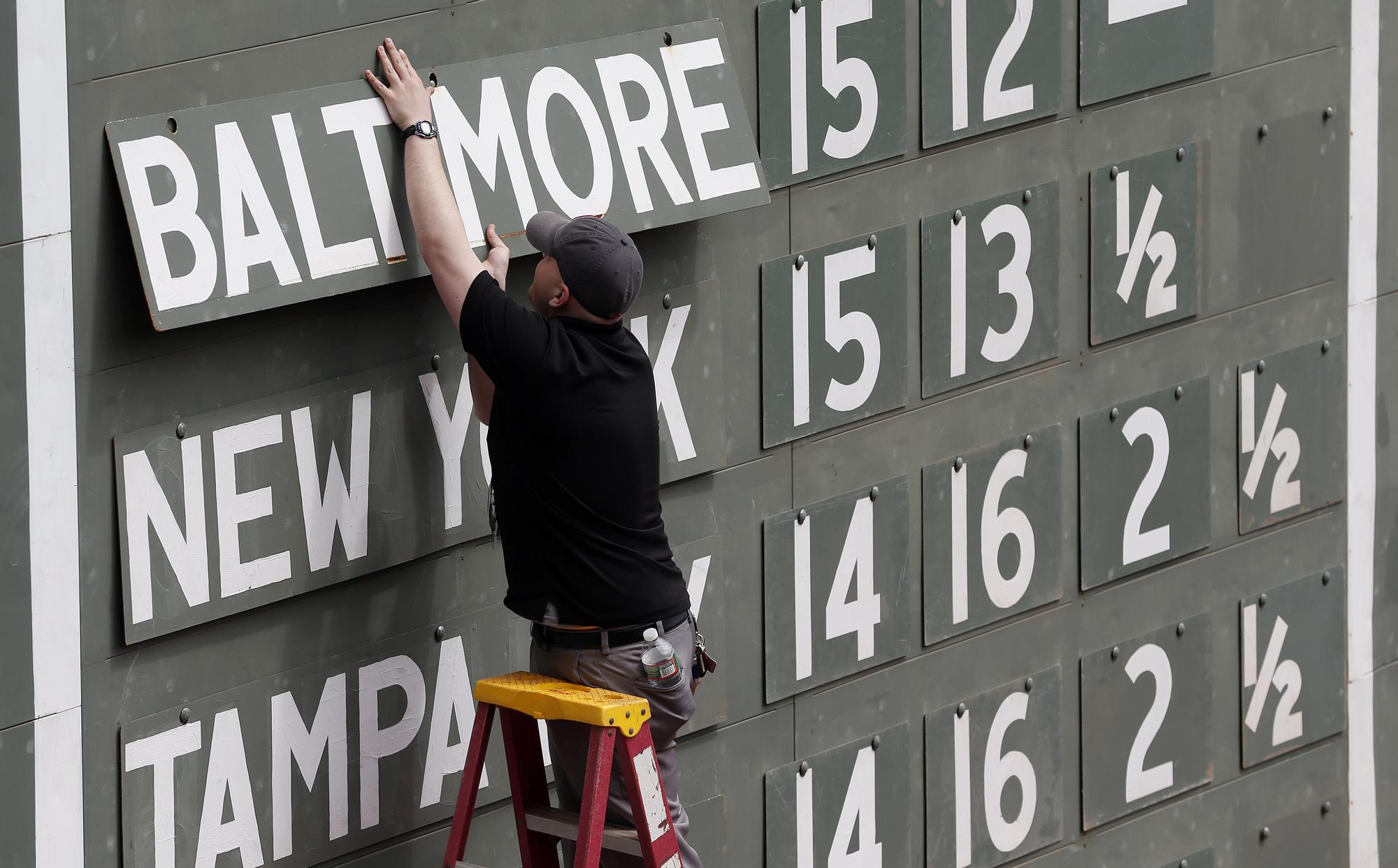 人工記分板是球場的另一個特色。(美聯社)