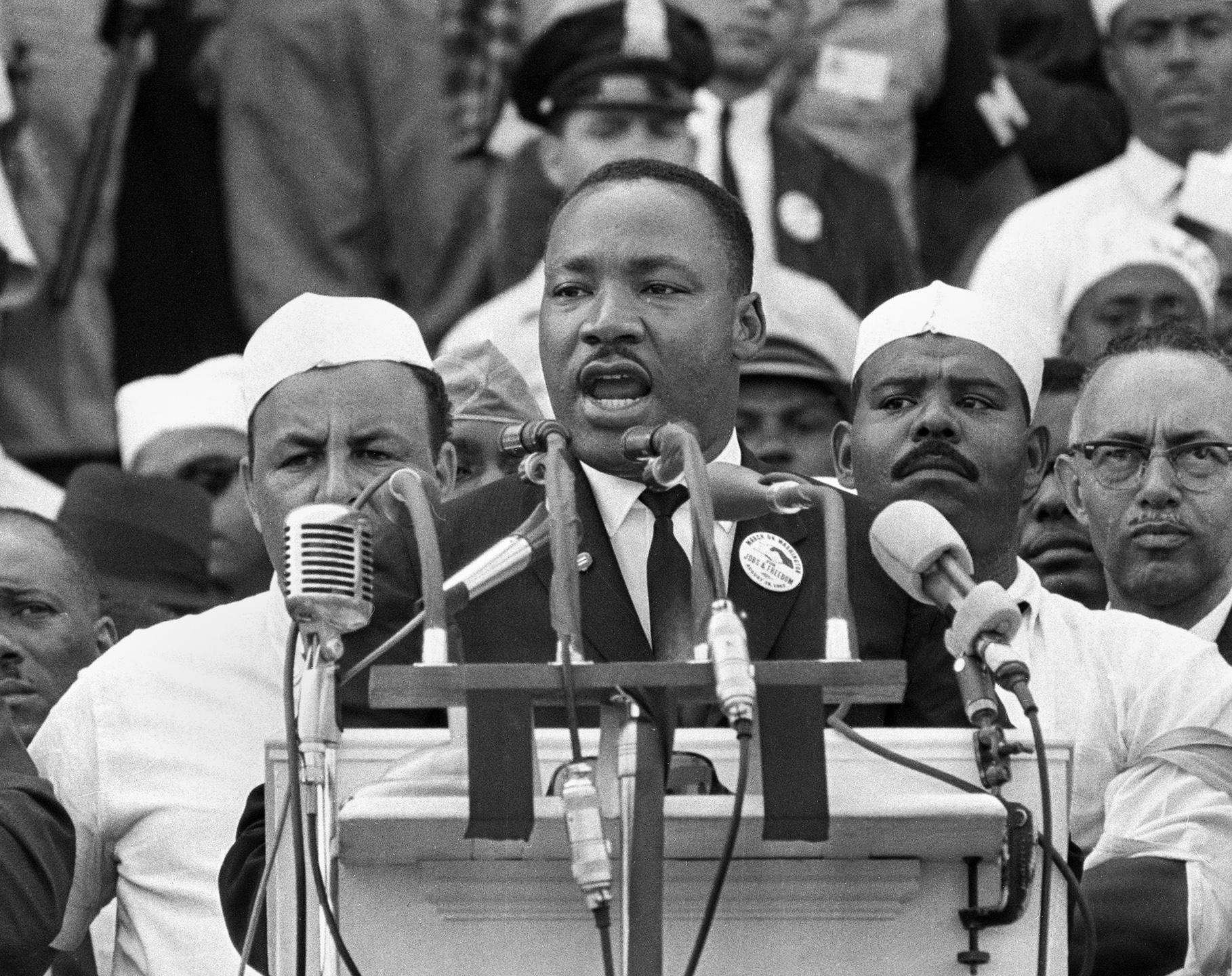 1963年8月28日,金恩發表著名的「我有一個夢」演說。(美聯社)