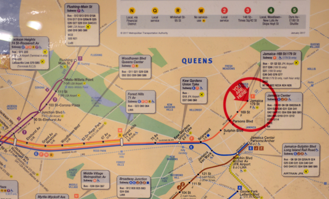 F線地鐵連接皇后區、曼哈頓及布碌崙三區,起點在179街與Hillside 大道交口。(記者許振輝/攝影)