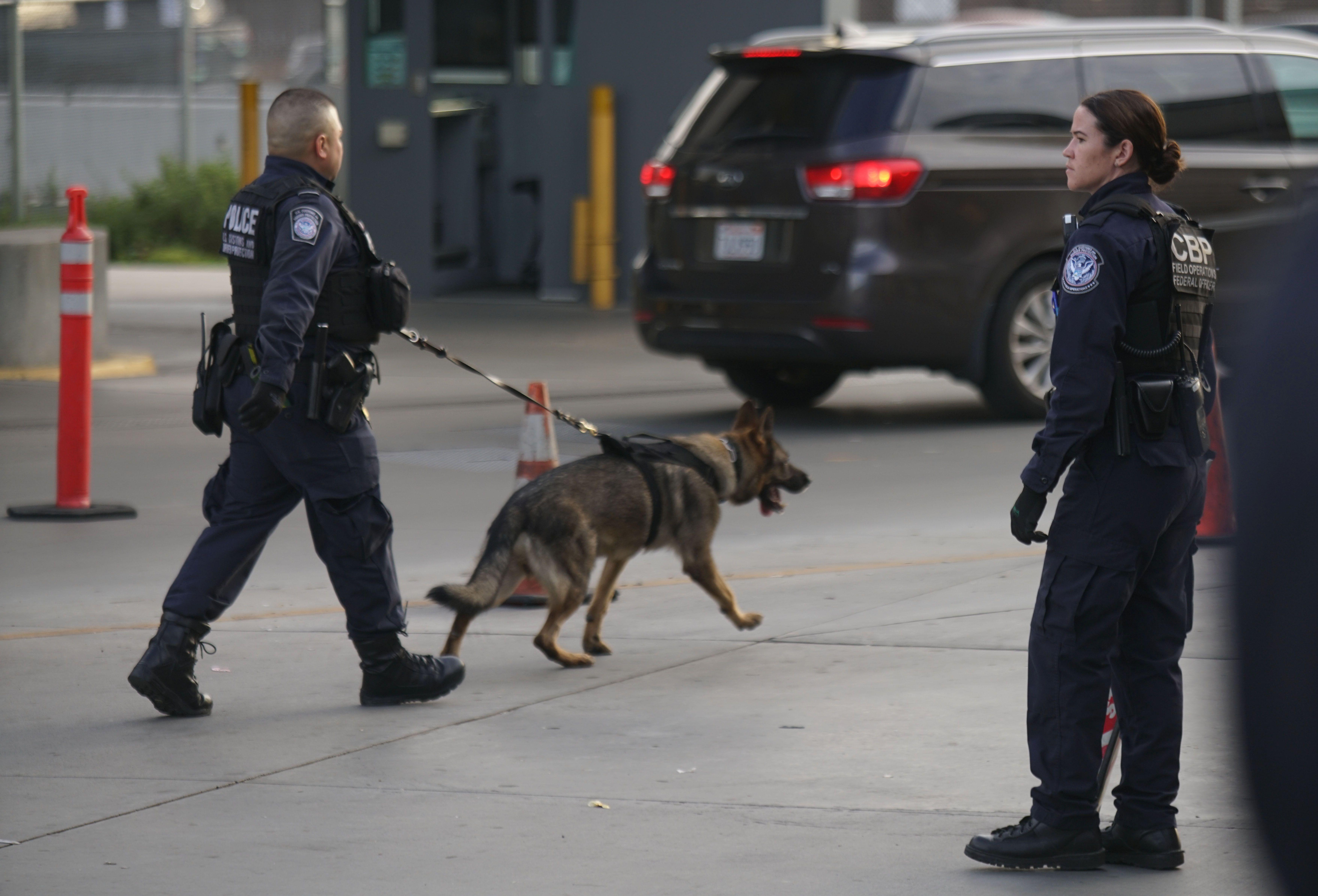 國安部在全美大規模搜捕無證移民罪犯,同時也加強邊界檢查。圖為聖地牙哥和墨西哥聖以西鐸口岸的檢查站。(Getty Images)
