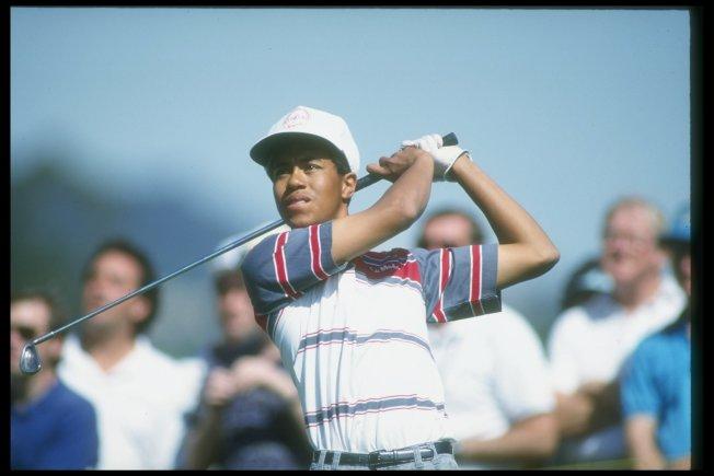 1.伍茲1992年2月27日參加洛杉磯公開賽,嶄露頭角。(Getty Images)