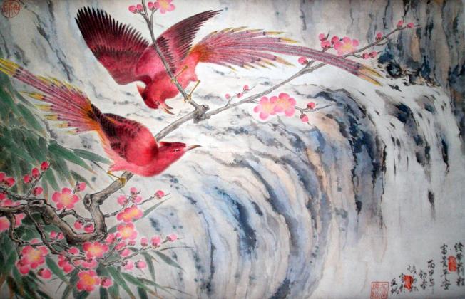 華裔畫家張如峰水墨彩繪國畫。(亞特蘭大美術協會提供)