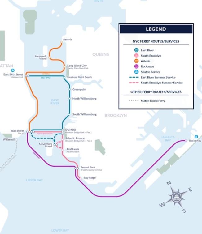 首批紐約渡輪到港,白思豪公布新線路圖和時間表。(市長辦公室提供)