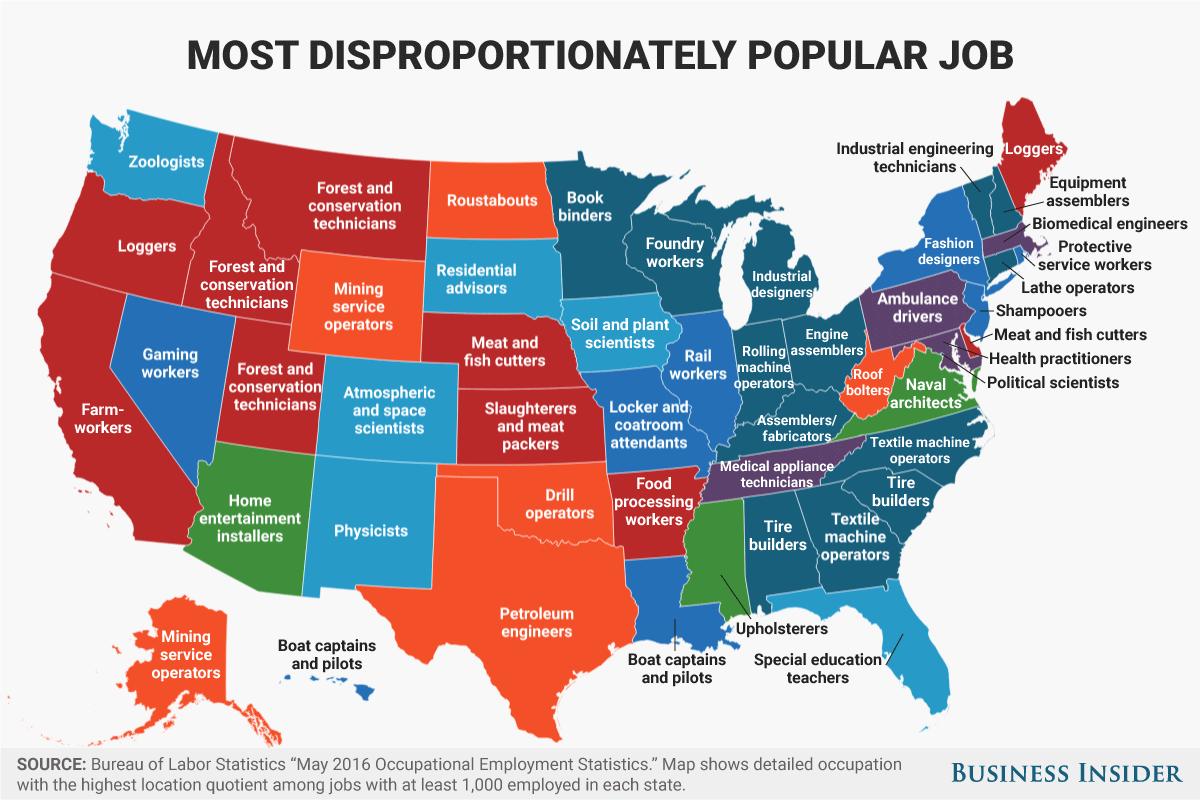 全美各州密度「最不成比例集中」的職業地圖。(取自財經內幕)