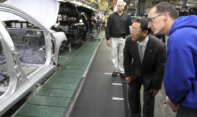 日本豐田汽車在肯塔基州設廠,雇用美國工人。(美聯社)