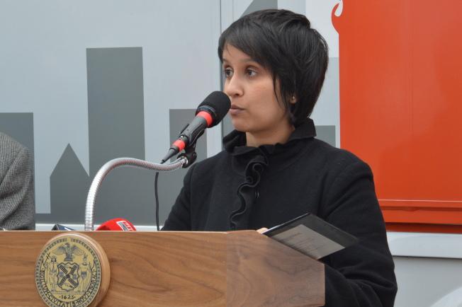 阿佳瓦表示,紐約市民卡將保護居民權益。(記者牟蘭/攝影)