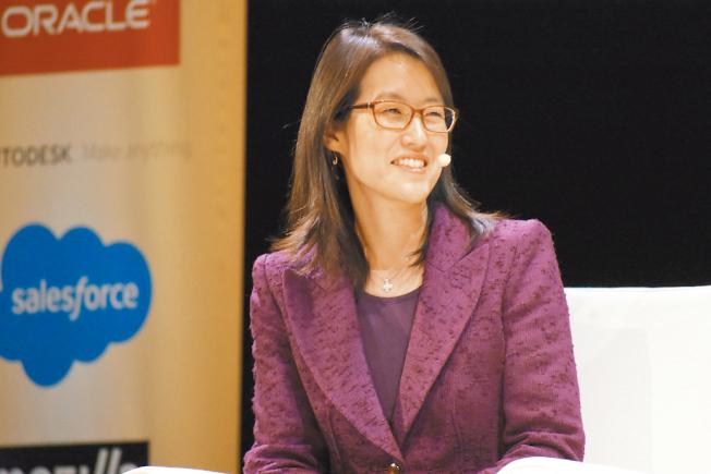 鮑康如談高科技界職場婦女權益。(記者李秀蘭/攝影)