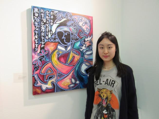 高嘉璐作畫風格大膽、用色活潑,被喻為「中國的小畢卡索」。(記者顏嘉瑩/攝影)