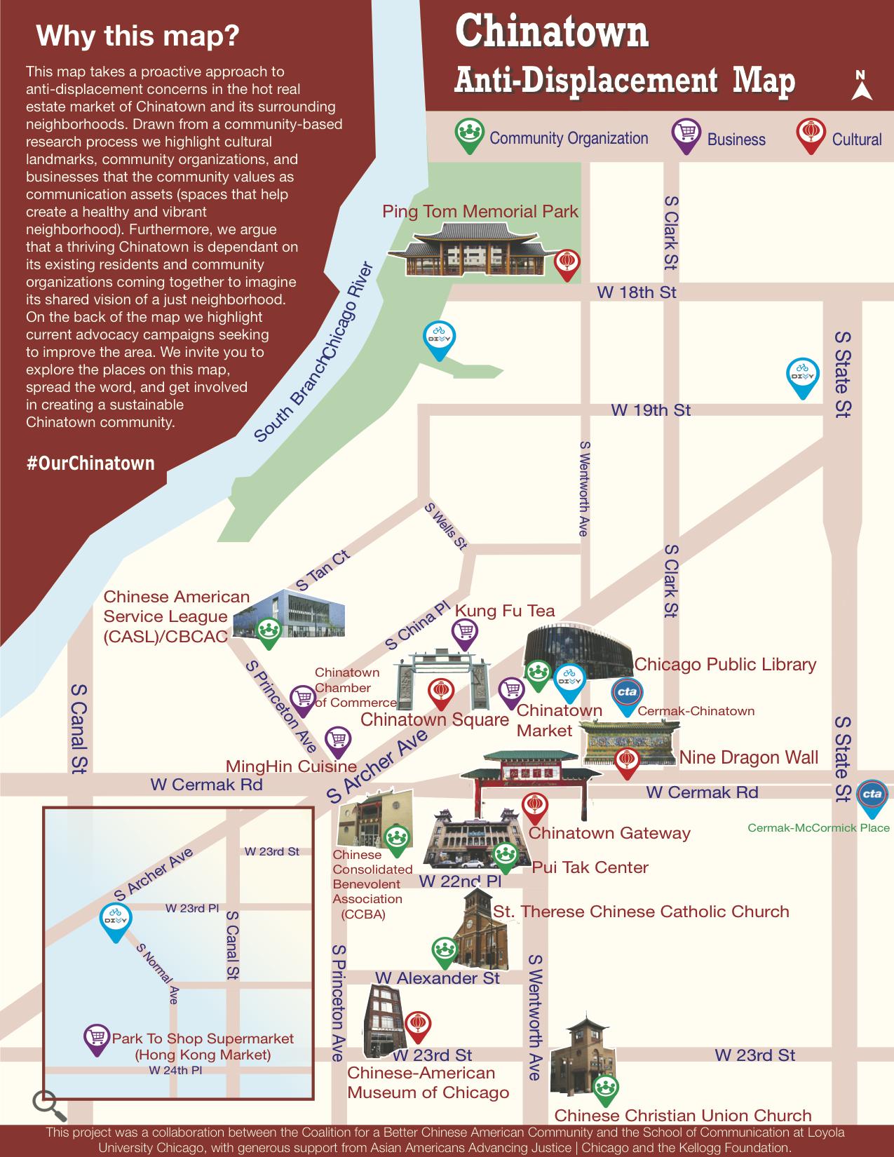 由華埠更好團結聯盟與芝加哥羅耀拉大學合作開發的「華埠反流失地圖」公布,地圖影印版將於29日發行。(取自華埠更好團結聯盟官網)