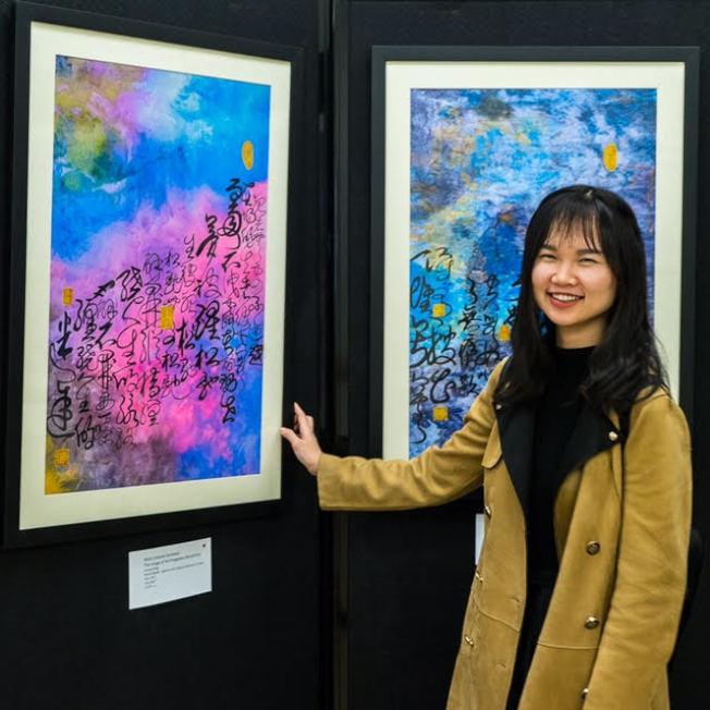 展至6月的「當代宇宙合作展」,展出黃翔多幅畫作。(Stu Chandler攝影)