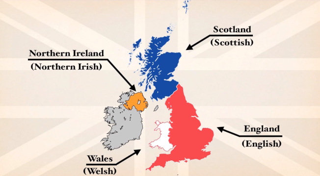 「英國」是由英格蘭(England)、蘇格蘭(Scotland)、威爾斯(Wales)及北愛爾蘭(Northern Ireland)四個具有主權及獨立議會的區域所組成,既「大不列顛及北愛爾蘭聯合王國」 (The United Kingdom of Great Britain and Northern Ireland)。 圖取自YouTube