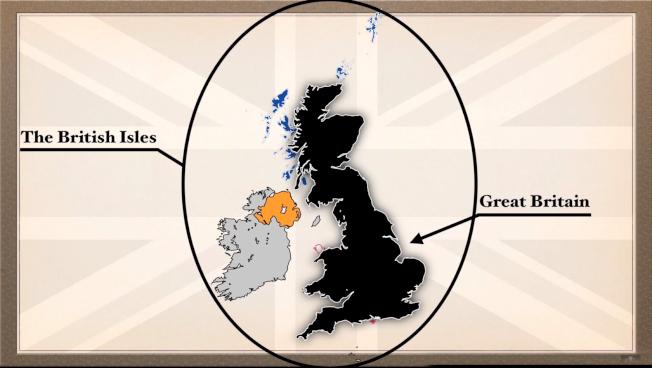 「大不列顛」是不列顛群島(British Isles)內最大的島嶼,包含英格蘭、蘇格蘭、威爾斯,但不包括北愛爾蘭(橘色區域)。 圖取自YouTube