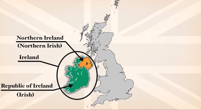 「愛爾蘭島」分為北愛爾蘭及愛爾蘭共和國(Republic of Ireland ,綠色),一般所提到「愛爾蘭」,指的是獨立國家「愛爾蘭共和國」。 圖取自YouTube