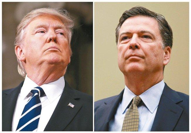 總統川普(左)與前FBI局長柯米。美聯社