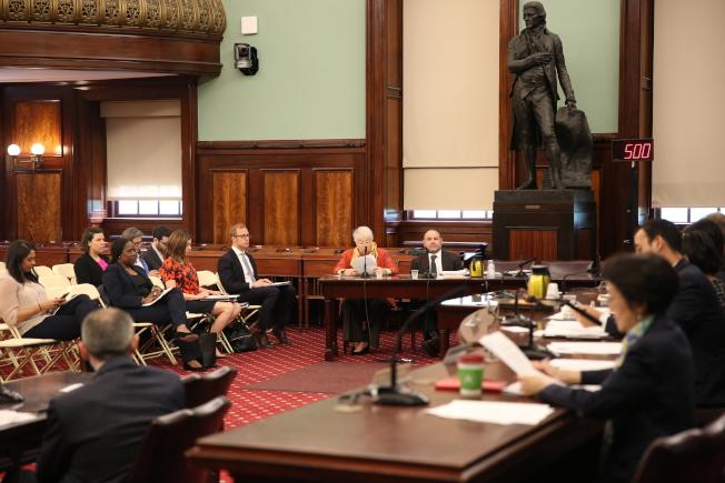 市教育總監法瑞娜在市議會新財年預算公聽中作證。(記者洪群超/攝影)