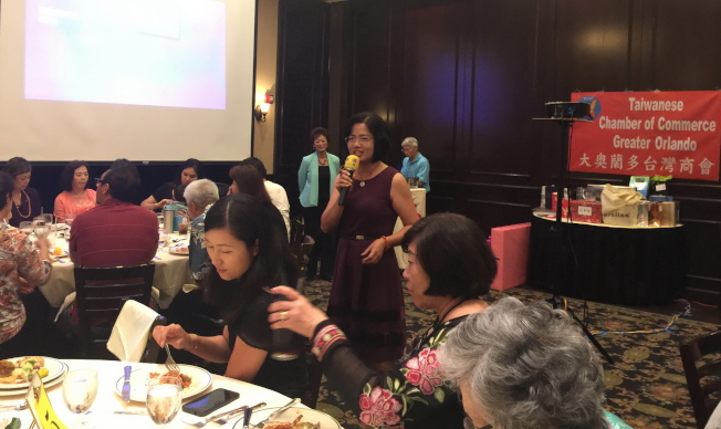 橘郡亞洲委員會主席林赫芳在大奧蘭多台商會年會中致詞。(記者陳文迪/攝影)