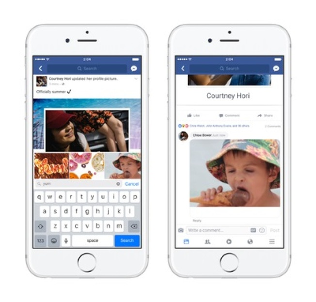 為歡慶GIF動態圖30周年,臉書宣布自6月15日開始用戶能夠在回應中使用GIF動圖。(圖取材自TechCrunch)