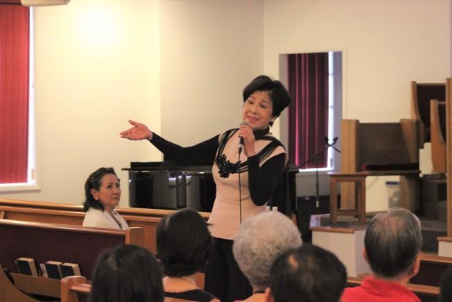 飾演「金大班的最後一夜」女主角姚煒16日晚間於休士頓台灣基督長老教會舉辦見證分享會。(記者郭宗岳/攝影)