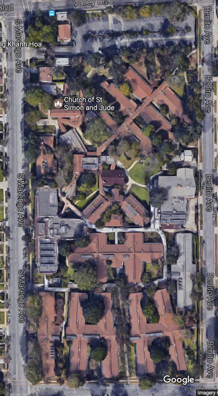 阿罕布拉市議會日前批准一項大型開發案,北邊(上方)是山谷大道,南邊(下方)是Glendon街,西邊(左方)是Marengo街,東邊(右)是Benito街,面積廣達11.6英畝。(谷歌地圖)