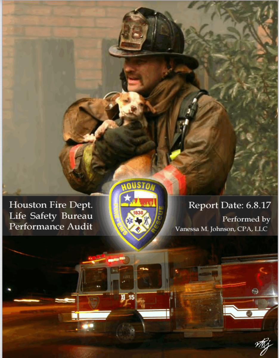 休士頓市審計處公布休士頓消防局審查報告,指出28項高危險性問題。(取自休士頓市審計處)