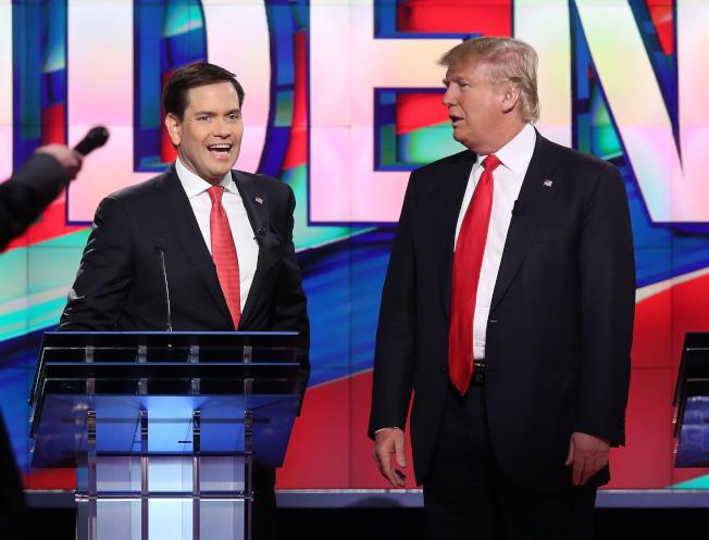 共和黨國會參議員魯比歐(左)不認為川普總統會炒掉穆勒。(Getty Images)