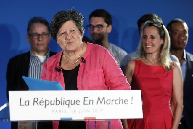 「共和前進!」黨主席凱瑟琳·巴巴魯在法國第二輪大選結束後發表談話。(歐新社)
