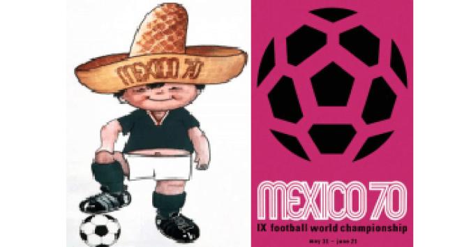(右)1970墨西哥世界杯足球賽海報。(左)1970墨西哥世界杯足球賽吉祥物「Juanito」。(網路圖片)