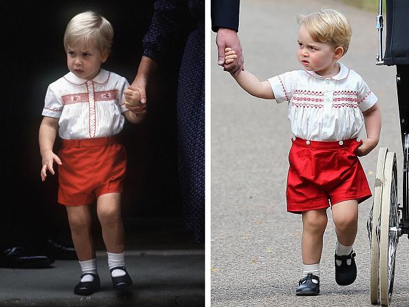 1984年9月16日威廉王子探望剛出生的弟弟哈利王子。2015年7月5日喬治小王子參加妹妹的受洗儀式。