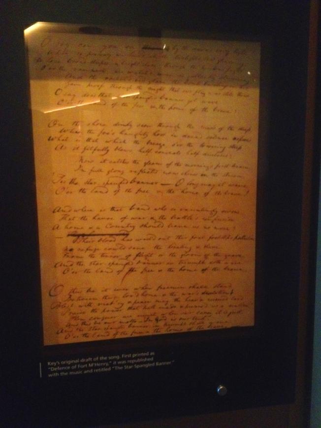 弗朗西斯創作的國歌原件,至今陳列在麥克亨利堡歷史博物館。