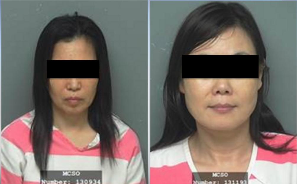 范麗穎(左)、崔桂芳因涉嫌賣淫被捕。(蒙哥馬利縣警局第三分局提供)