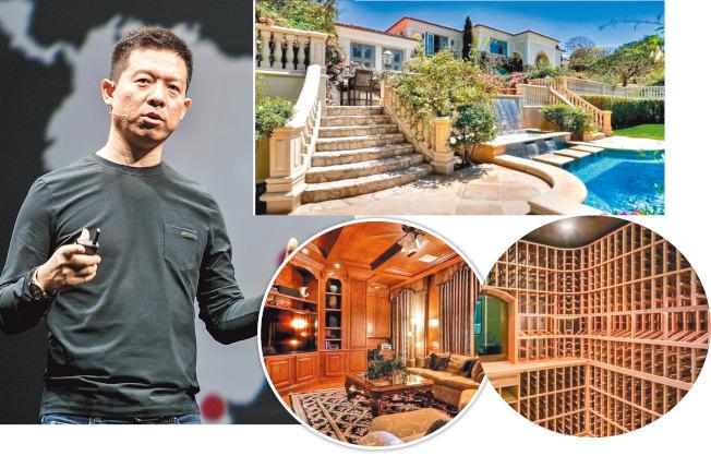 樂視網執行長賈躍亭(左圖,取材自樂視網)被曝在美擁豪宅;豪宅外觀及內部裝潢十分大器(取材自每日經濟新聞)。
