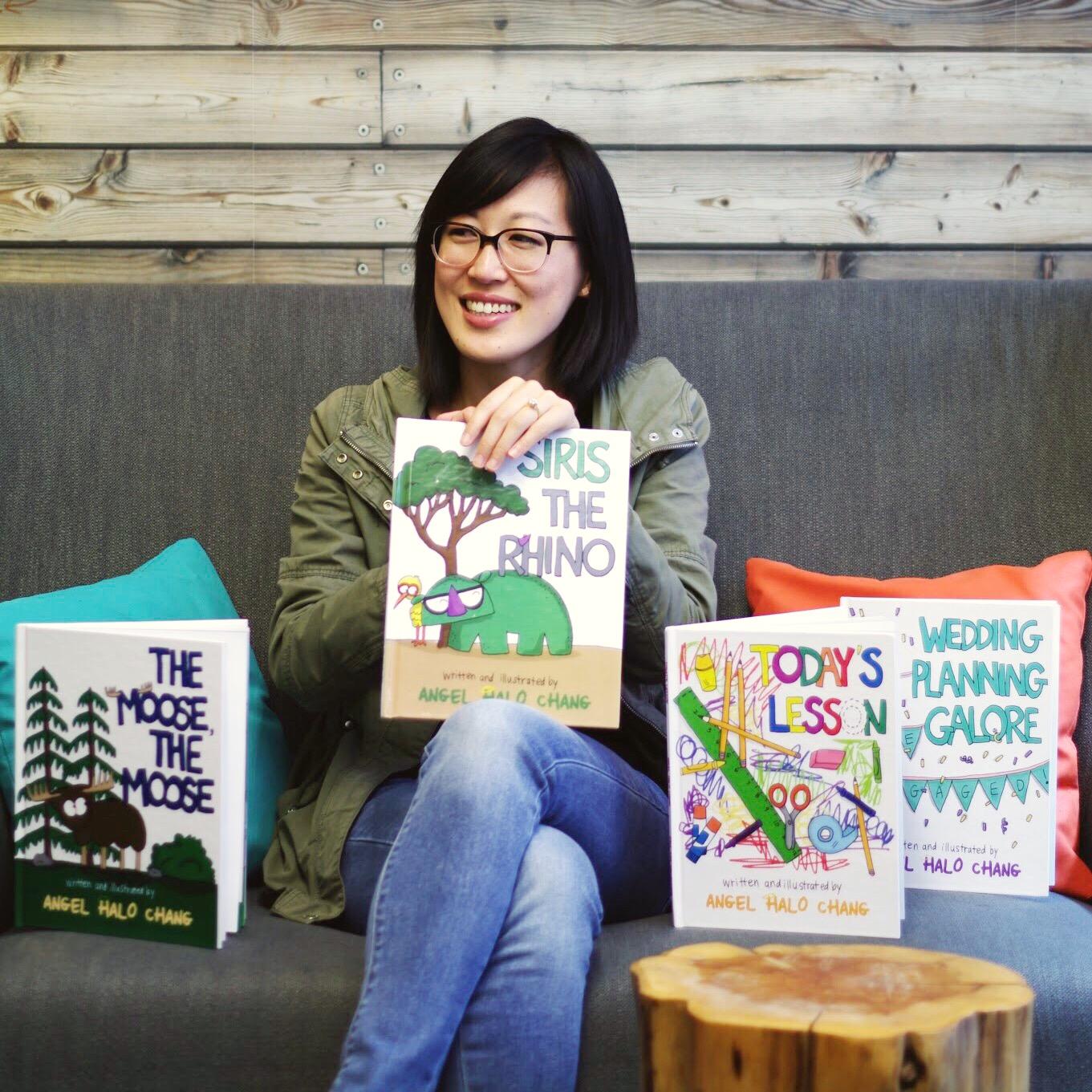 在富樂頓長大的張佳鈺完成四本圖文並茂的兒童讀物,並已獲得預購者資金贊助印刷。(張佳鈺提供)
