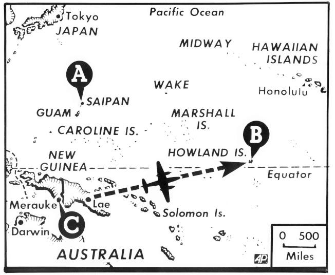 厄哈特橫越太平洋的飛行圖。(美聯社)